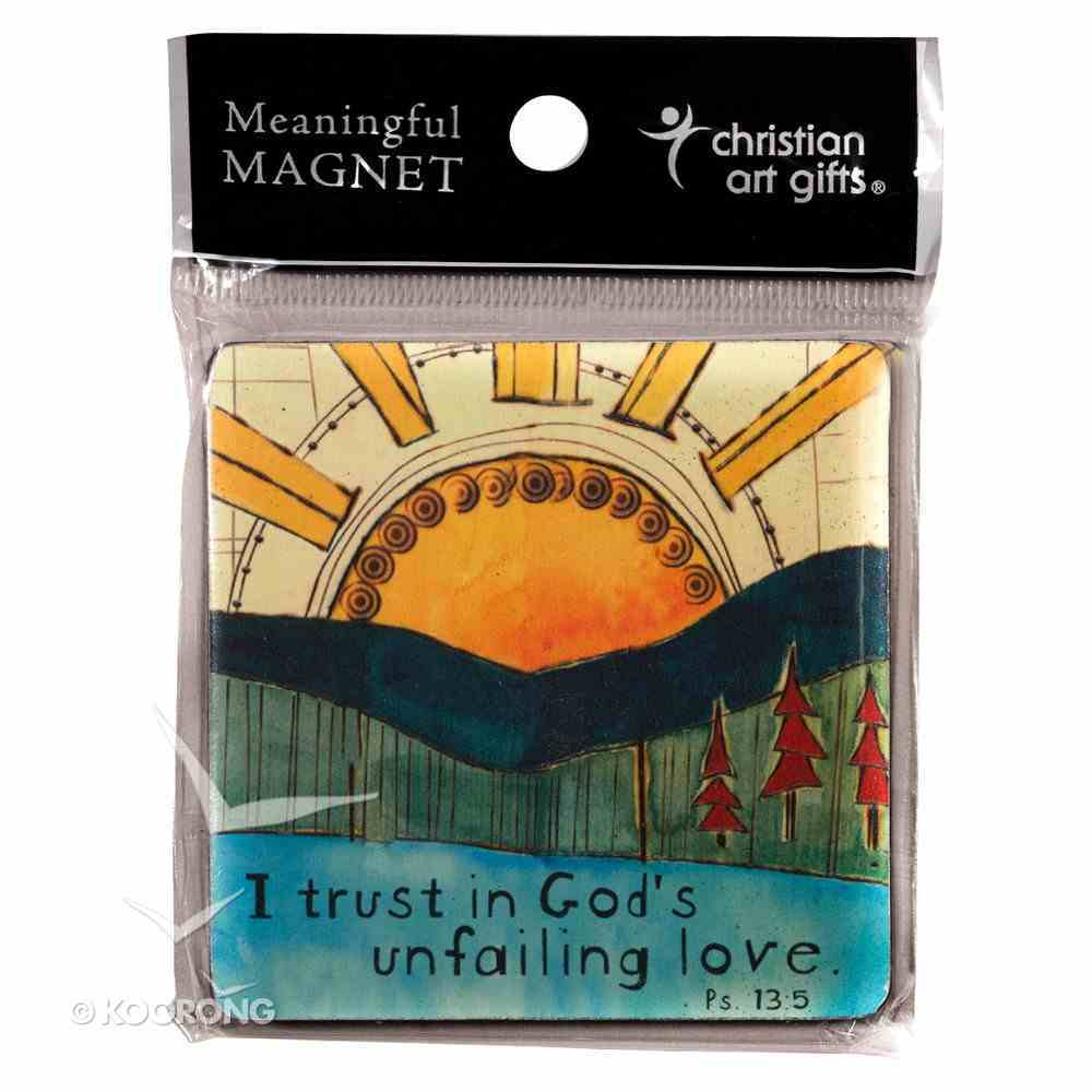 Wooden Magnet With Hanging Tag: I Trust in God's Unfailing Love: Golden Blossoms Novelty