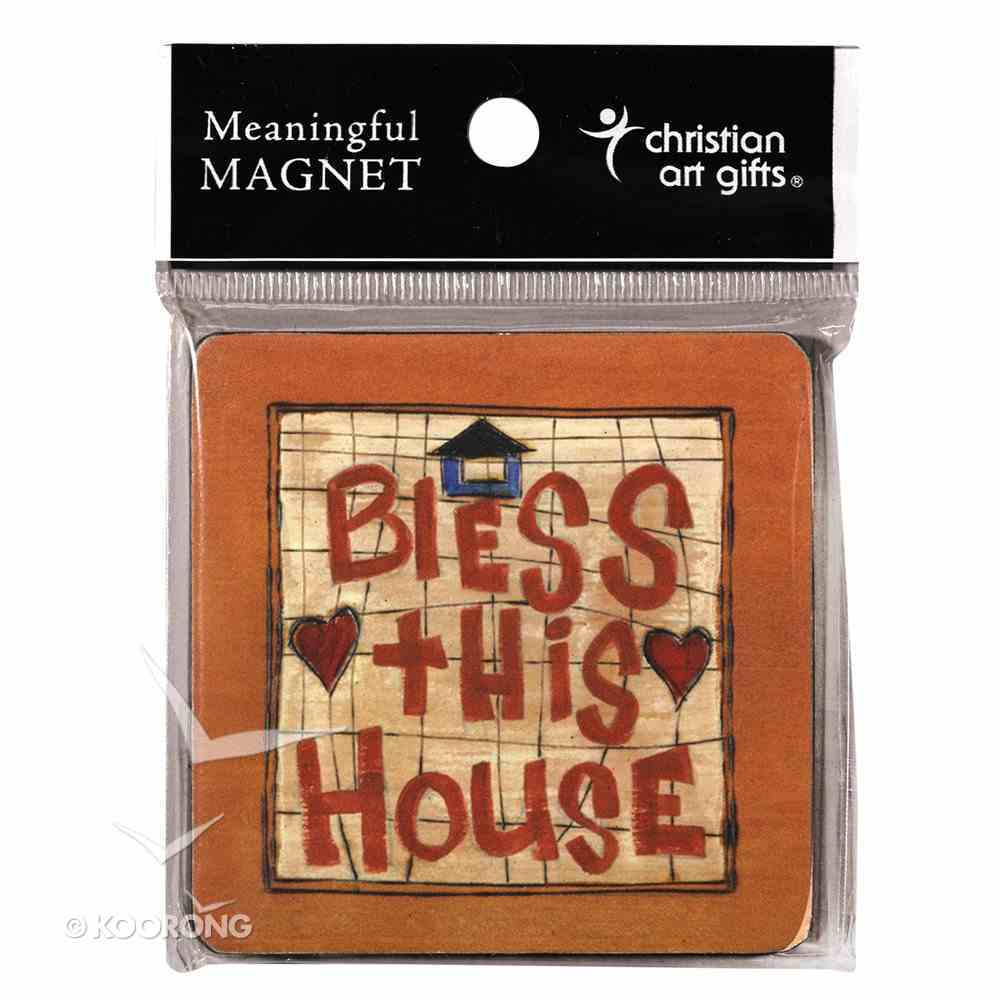 Wooden Magnet With Hanging Tag: Bless This House: Golden Blossoms Novelty