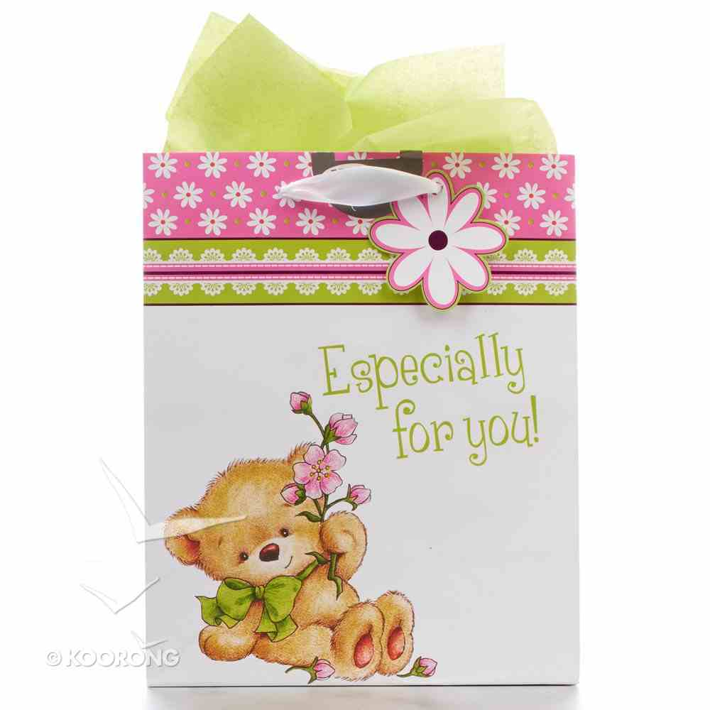 Gift Bag Medium: Especially For You! Teddy Bear With Flower Stationery