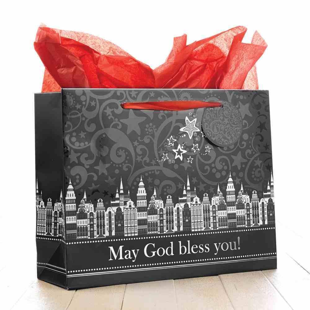 Christmas Gift Bag Large: May God Bless You! (Black/white) Stationery