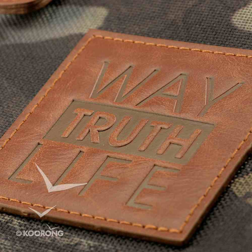 Bible Cover Large Tri-Fold Organizer Way, Truth, Love in Real Tree Camouflage Print Bible Cover