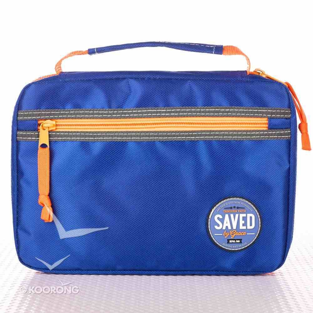 Bible Cover Medium: Saved By Grace Eph. 2:8 Blue/Orange Nylon Bible Cover
