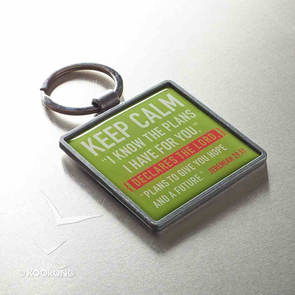 Metal Keyring: Keep Calm, Lime Green Jewellery