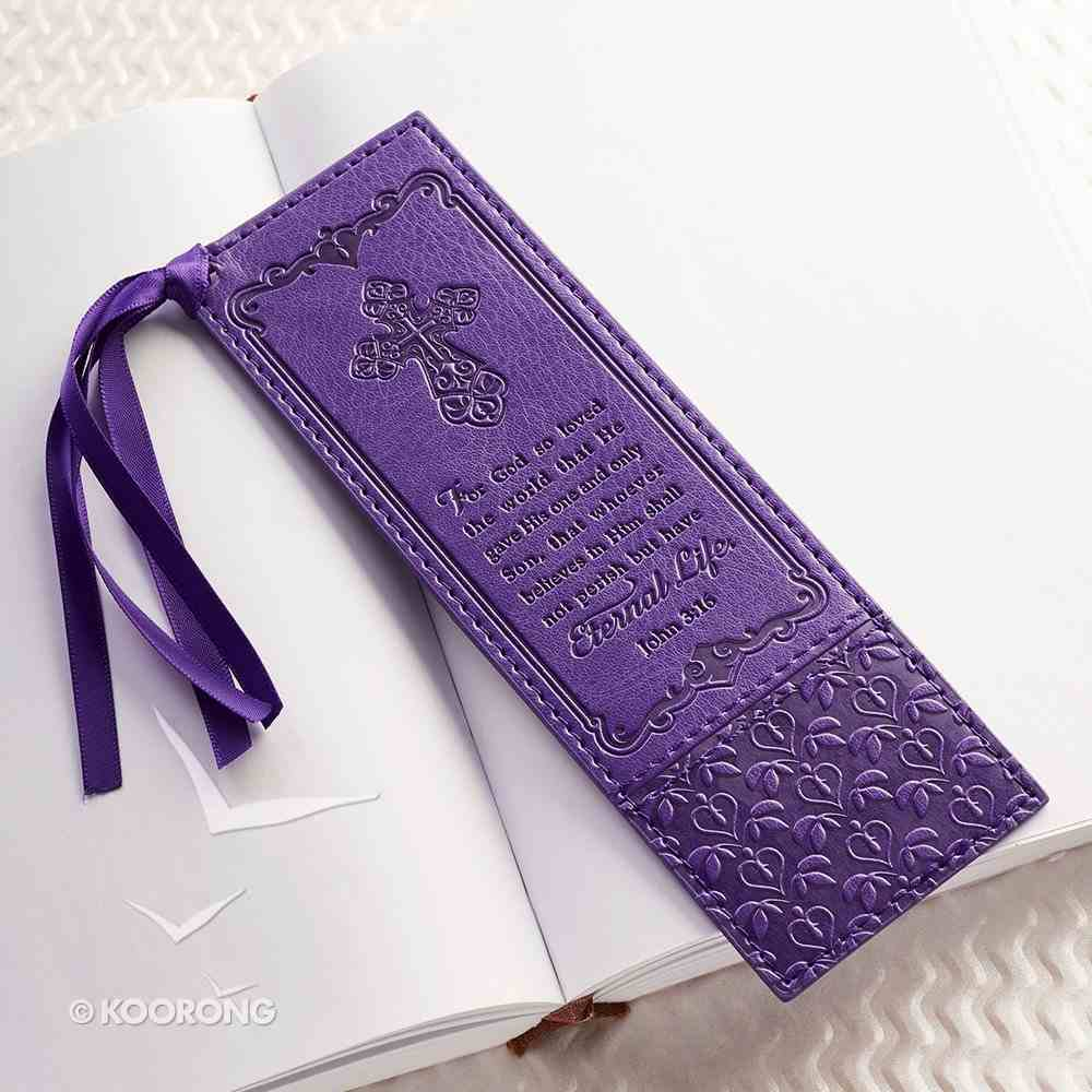 Bookmark With Tassel: John 3:16, Purple Imitation Leather