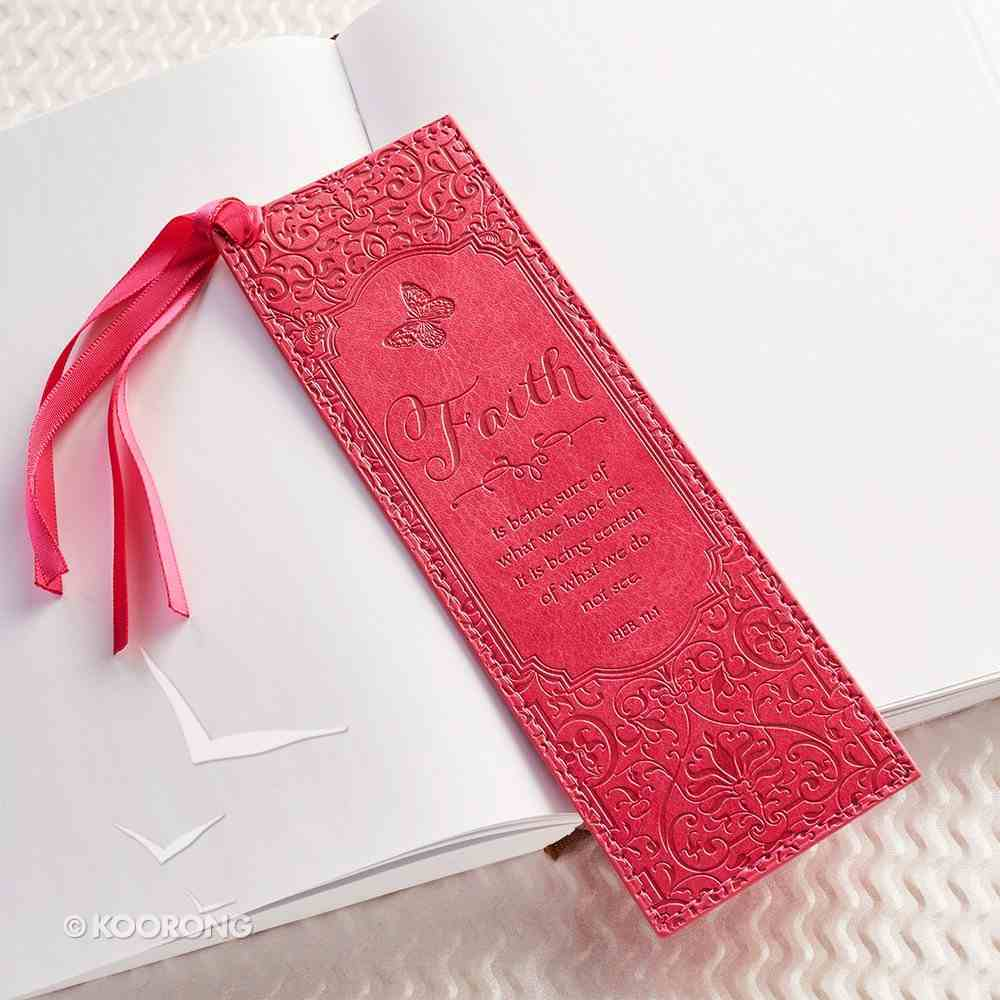 Bookmark With Tassel: Faith, Pink Imitation Leather