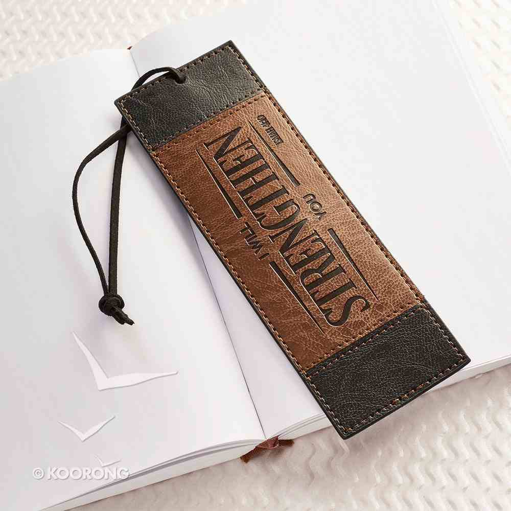 Bookmark With Tassel: Strength, Black/Brown Imitation Leather