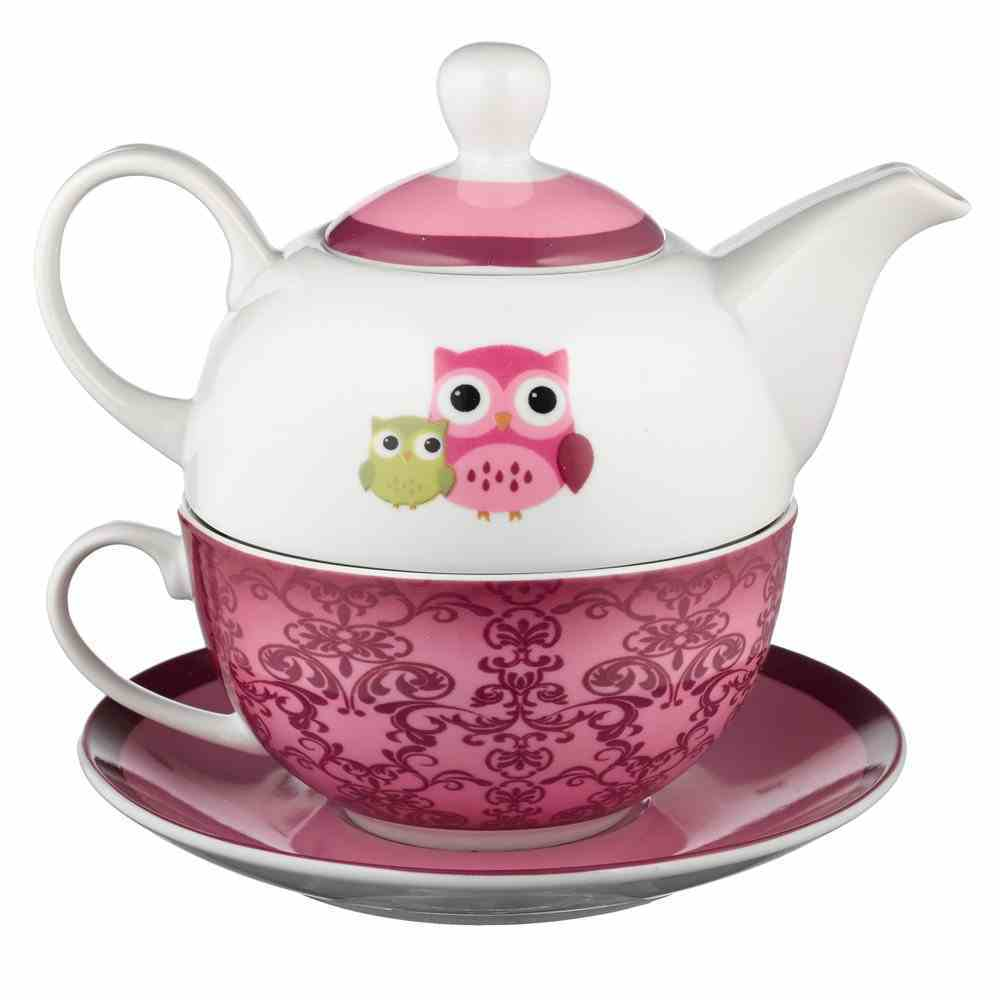 Ceramic Teapot & Colored Saucer: Wisdom is Sweet, Owl, Pink/White Homeware