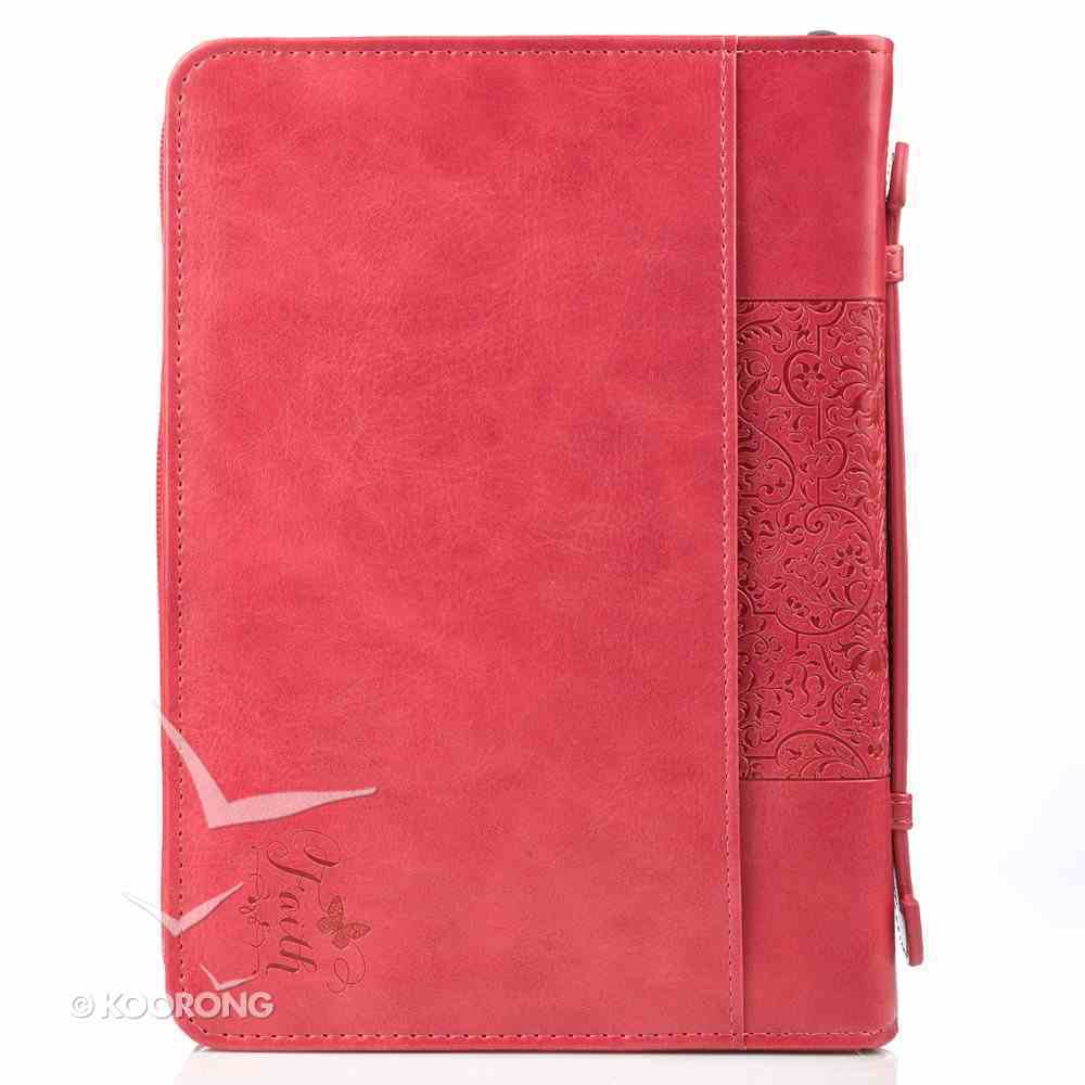 Bible Cover Faith Hebrews 11: 1 Pink Large Fashion Debossed Luxleather Bible Cover