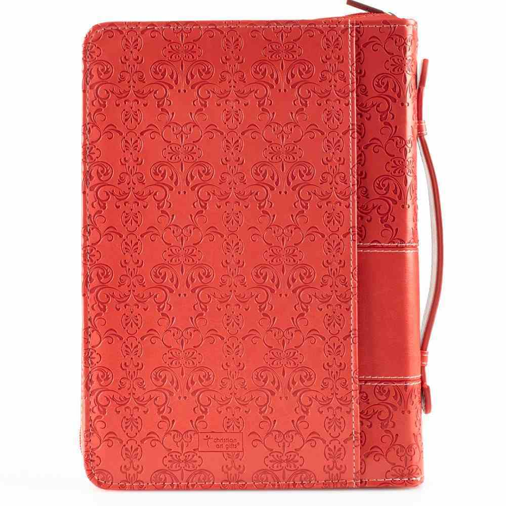 Bible Cover Amazing Grace Coral Large Fashion Debossed Luxleather Bible Cover