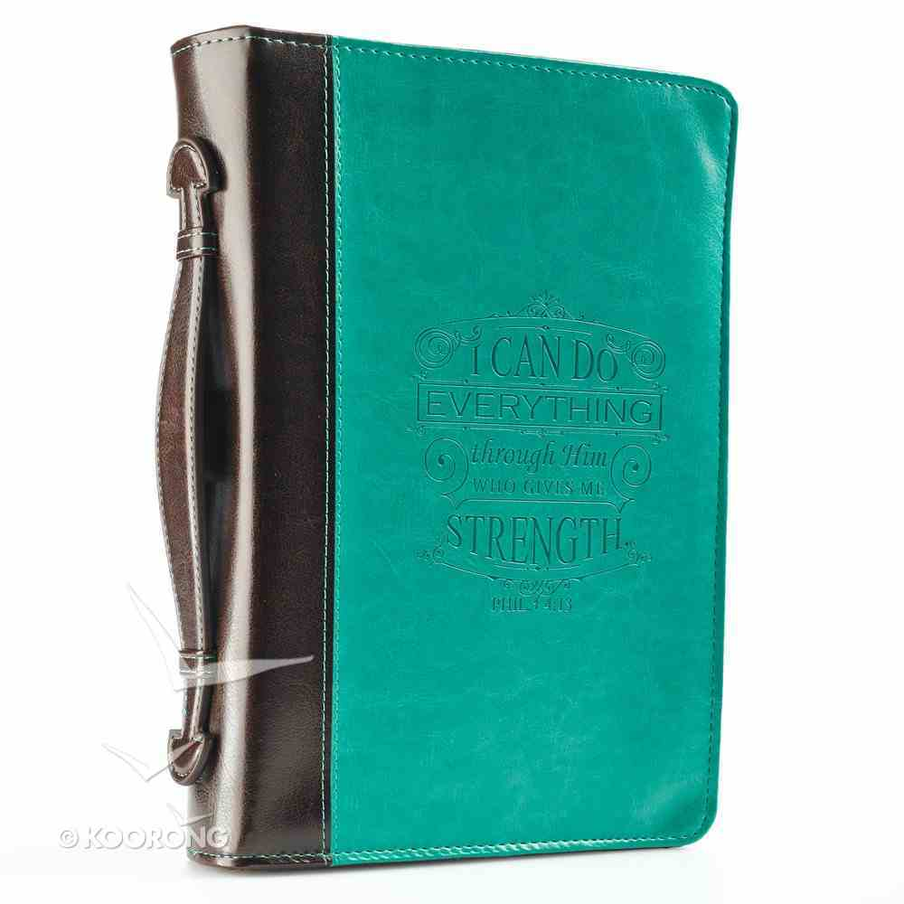 Bible Cover I Can Do All Things Phil. 4: 13 Turquoise Large Fashion Debossed Luxleather Bible Cover