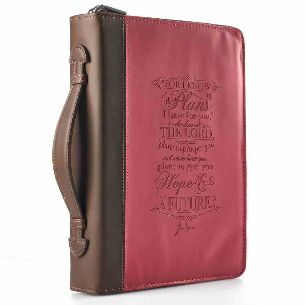 Bible Cover I Know the Plans Jer. 29: 11 Pink Large Fashion Debossed Luxleather Bible Cover