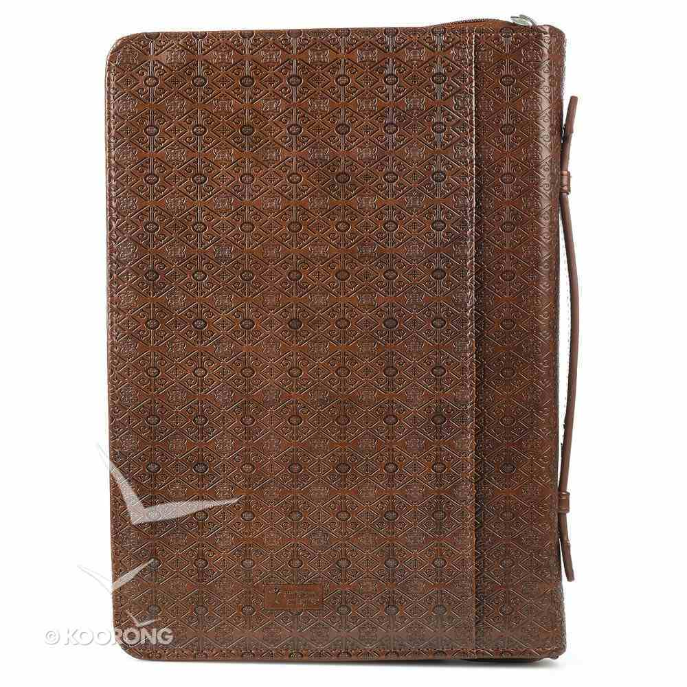 Bible Cover Plans Jer. 29: 11 W/Badge Brown Large Luxleather Bible Cover