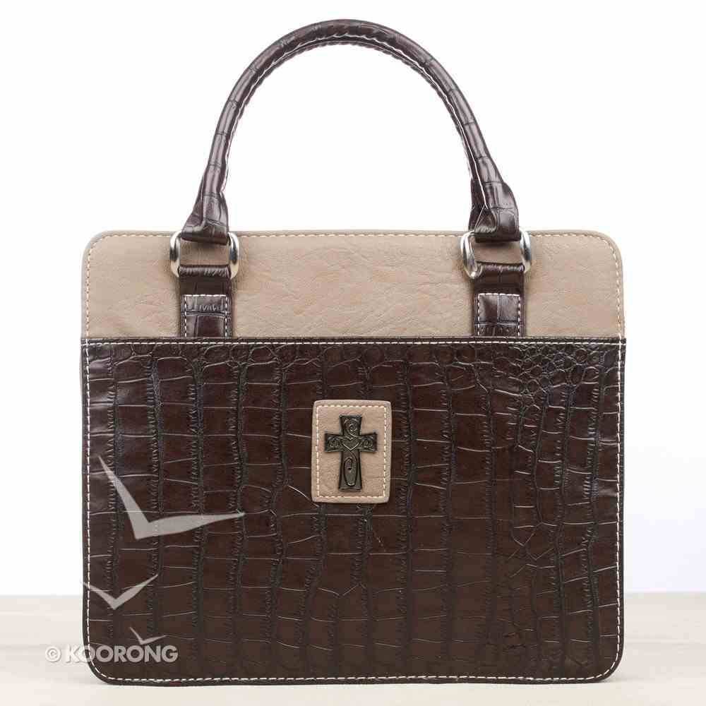 Bible Cover Croc Purse Brown/Tan Large Decorative Silver Cross Bible Cover