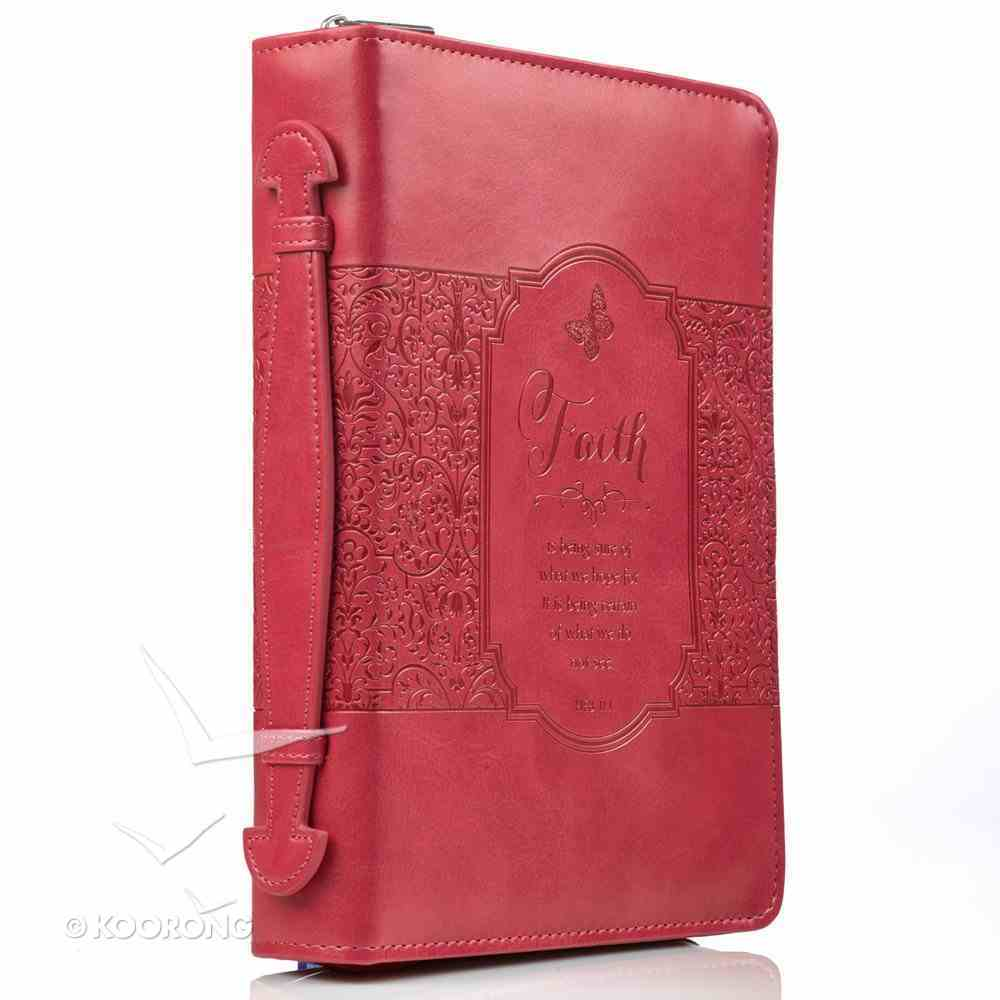 Bible Cover Medium Faith Heb 11: 1 Pink Fashion Debossed Luxleather Bible Cover