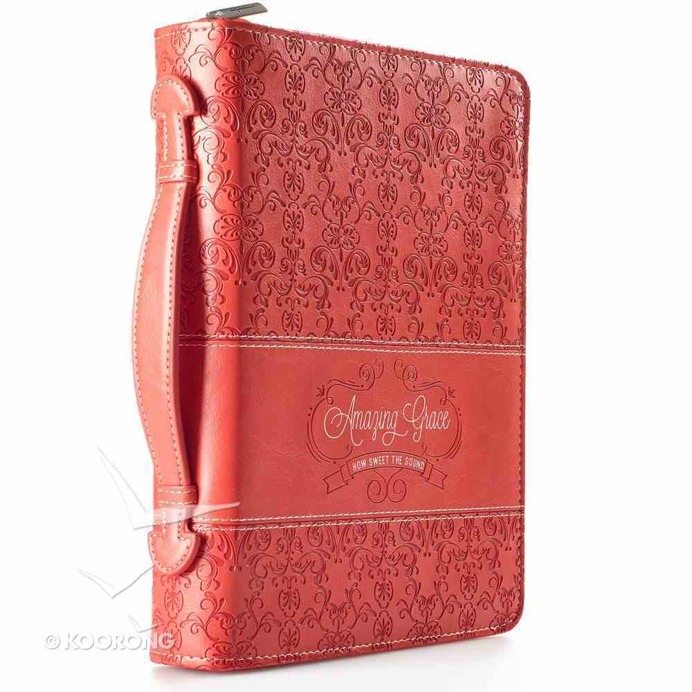 Bible Cover Amazing Grace Coral Medium Fashion Debossed Luxleather Bible Cover