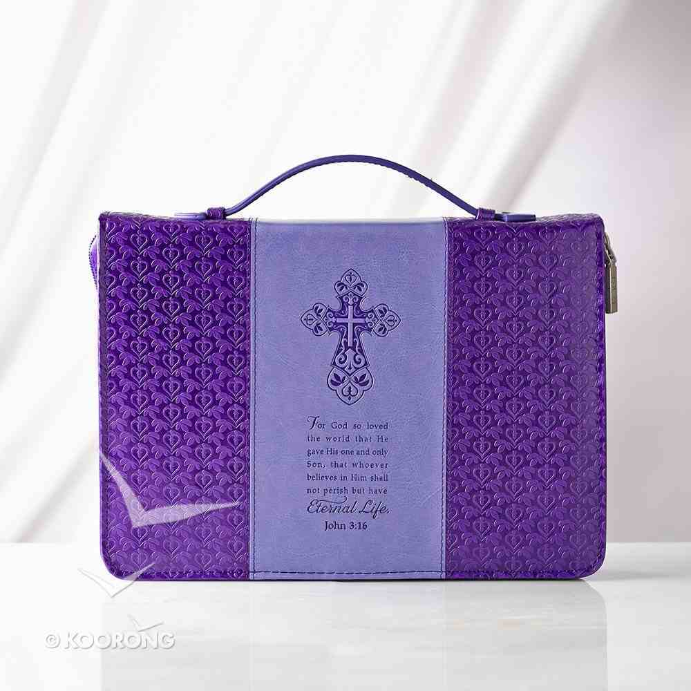 Bible Cover Medium: John 3:16 Purple Debossed Luxleather Bible Cover