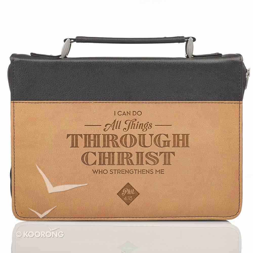 Bible Cover Medium: All Things Phil. 4:13 Brown/Tan Bible Cover