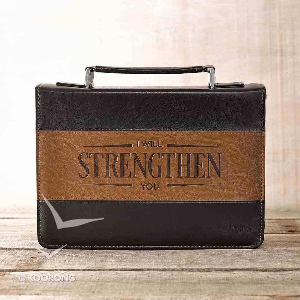Bible Cover Medium Strengthen Isaiah 41: 10 Brown/Tan Medium Luxleather Bible Cover