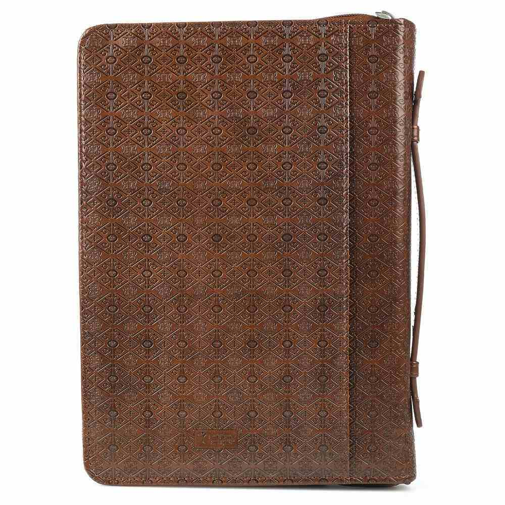Bible Cover Medium Plans W/Badge Jer. 29: 11 Brown Luxleather Bible Cover