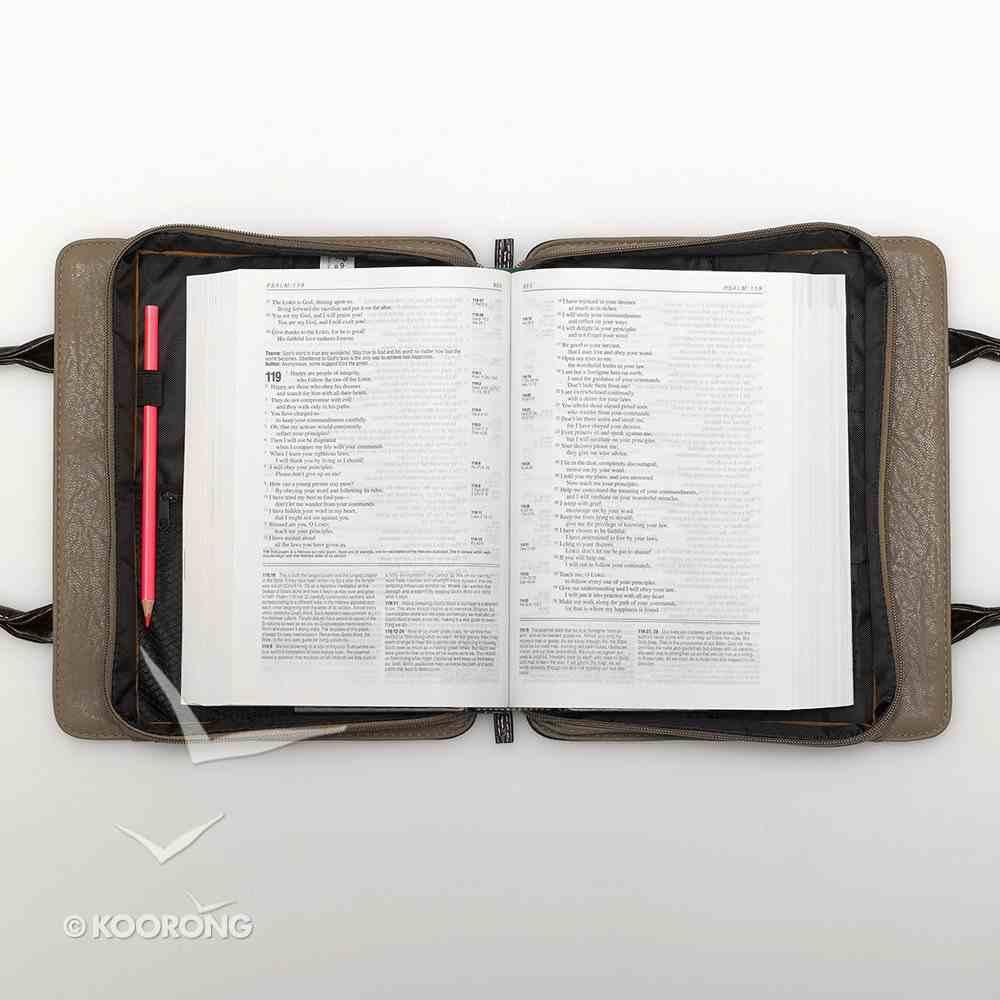 Bible Cover Medium Croc Purse Brown/Tan Decorative Silver Cross Bible Cover