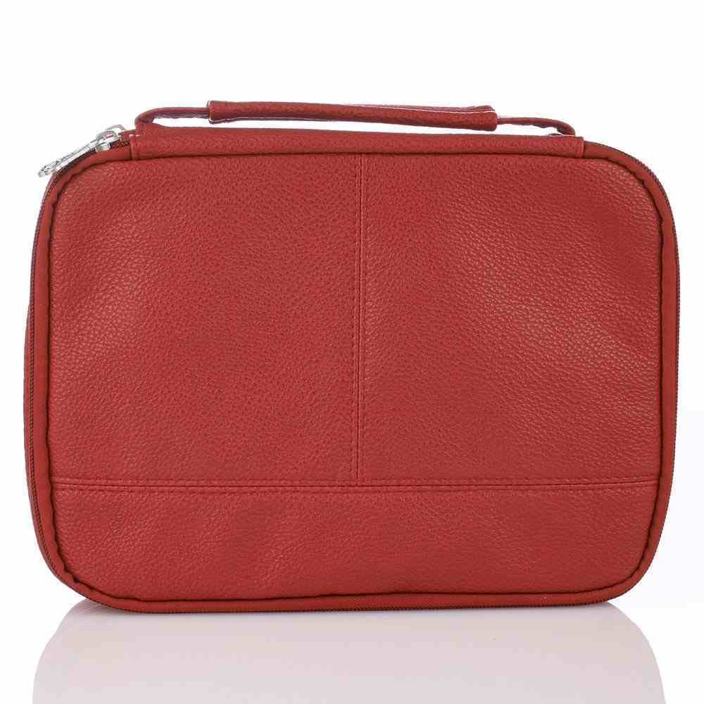 Bible Cover Two-Fold Organizer Medium: Cross Red Soft Leatherlike Bible Cover