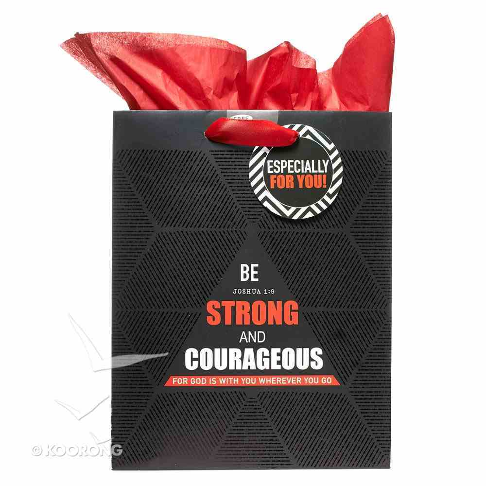 Gift Bag Medium: Be Strong & Courageous (Incl Tissue Paper) (Josh 1:9) Stationery