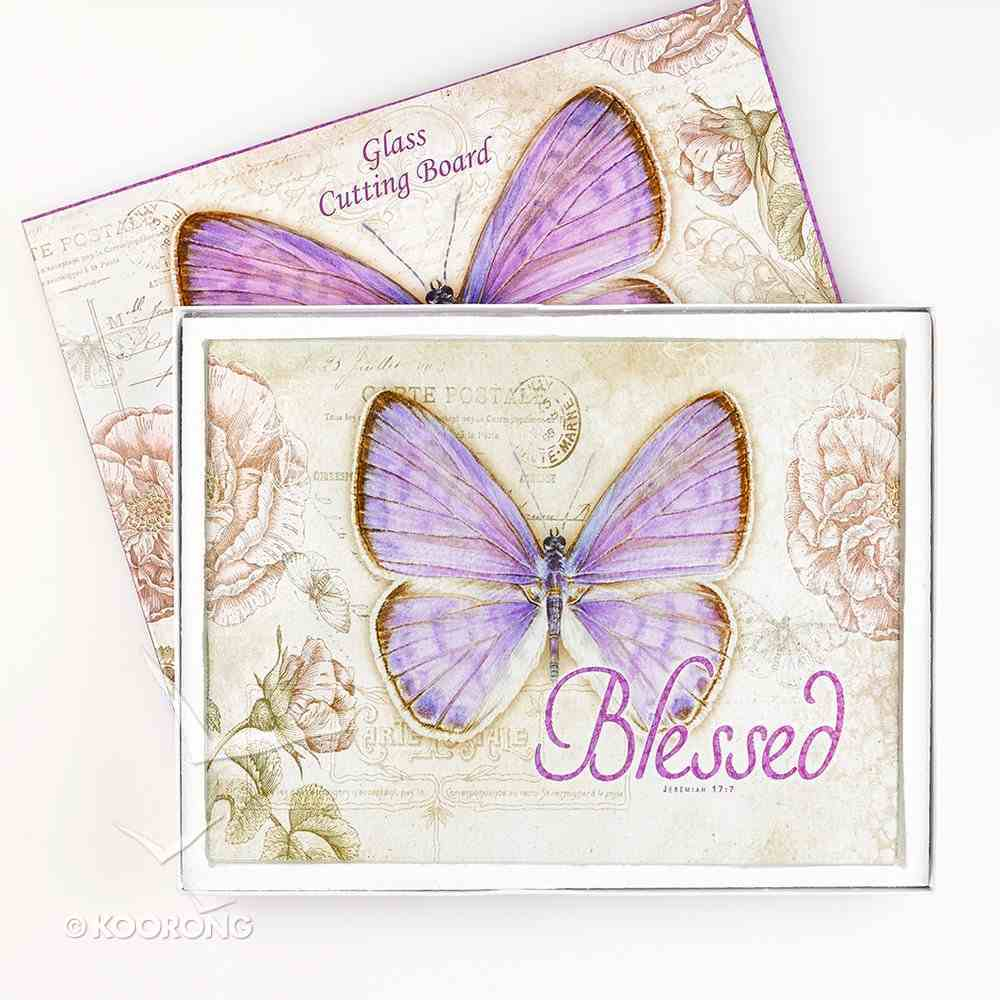 Large Glass Cutting Board: Blessed Butterfly Purple Homeware