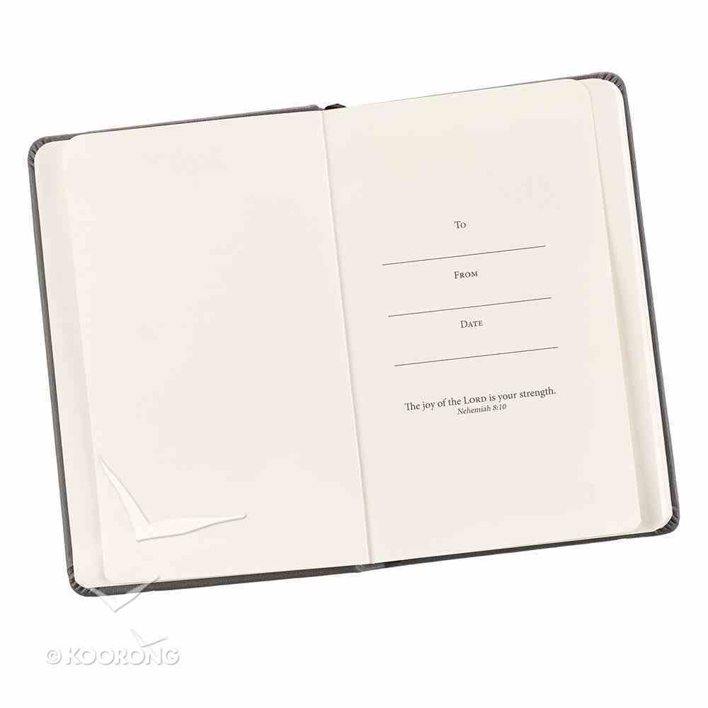 Notepad: Be Strong and Courageous With Elastic Band Closure Gray Luxleather Hardback