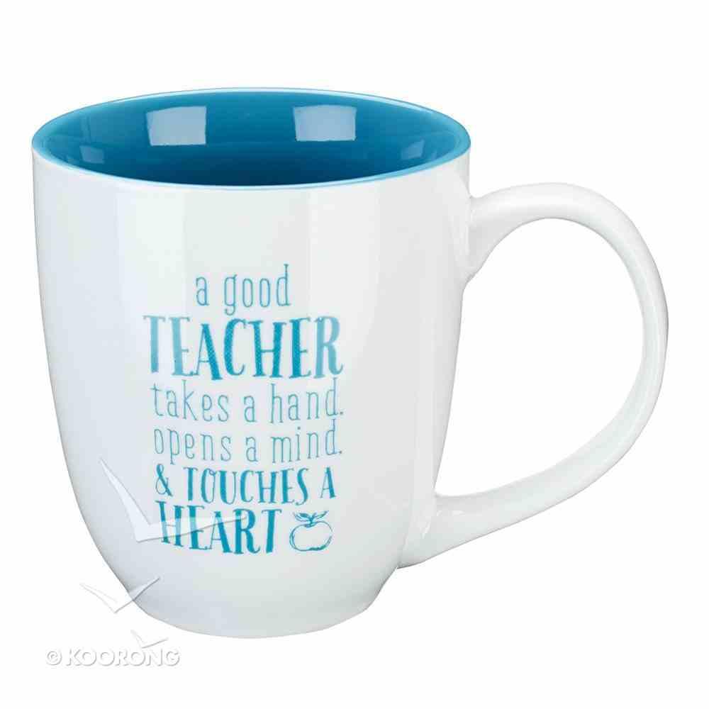 Ceramic Mug: A Good Teacher, White/Blue Inside (414ml) Homeware