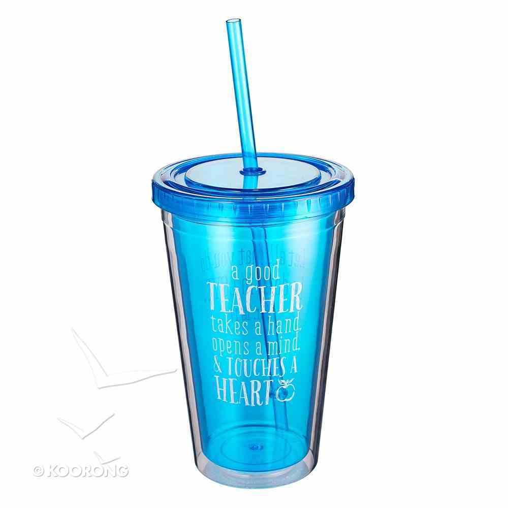 Plastic 480ml Tumbler: A Good Teacher Deep Blue Homeware