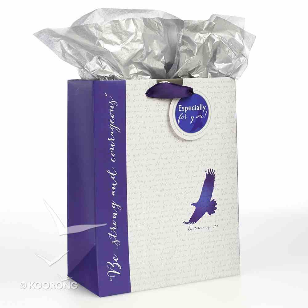 Gift Bag Medium: Eagle, Be Strong & Courageous White/Blue (Deut 31:6) Stationery