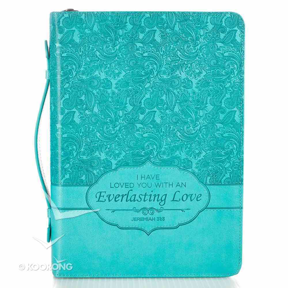 Bible Cover Medium Everlasting Love Jer. 31: 3 Turquoise Luxleather Bible Cover