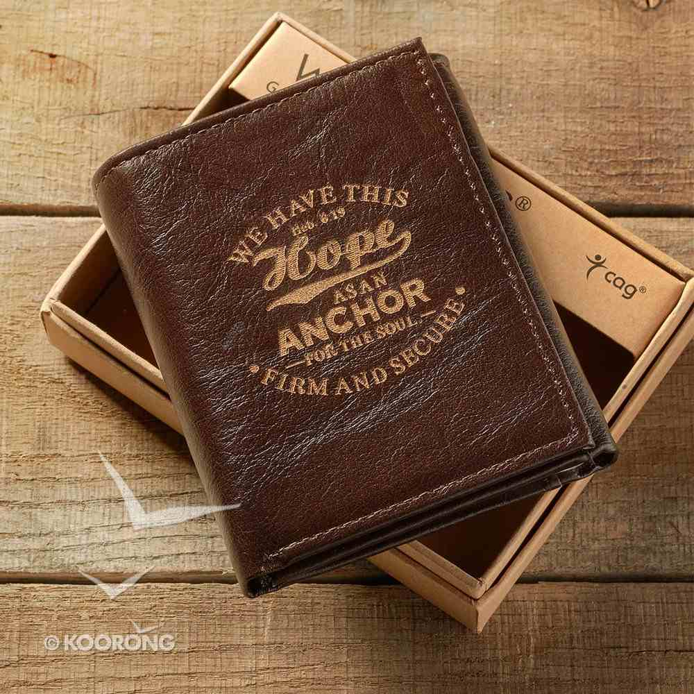 Mens Genuine Leather Wallet Brown: Hope as An Anchor Soft Goods