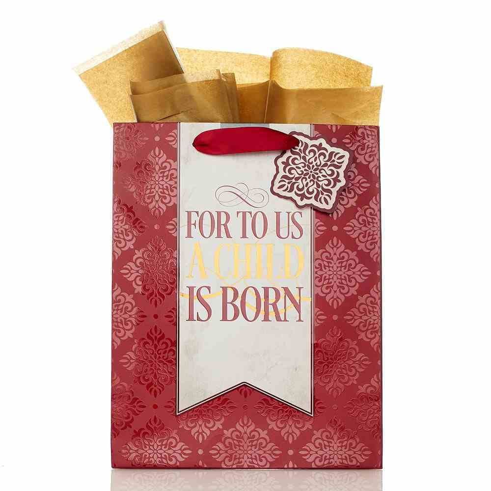 Christmas Gift Bag Medium: For to Us With Tissue Paper & Gift Tag Stationery