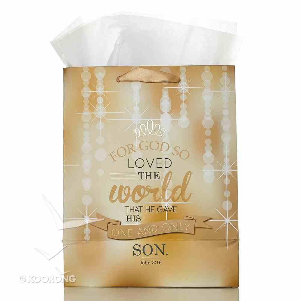 Gift Bag Medium: For God So Loved the World..... (Gold) Stationery
