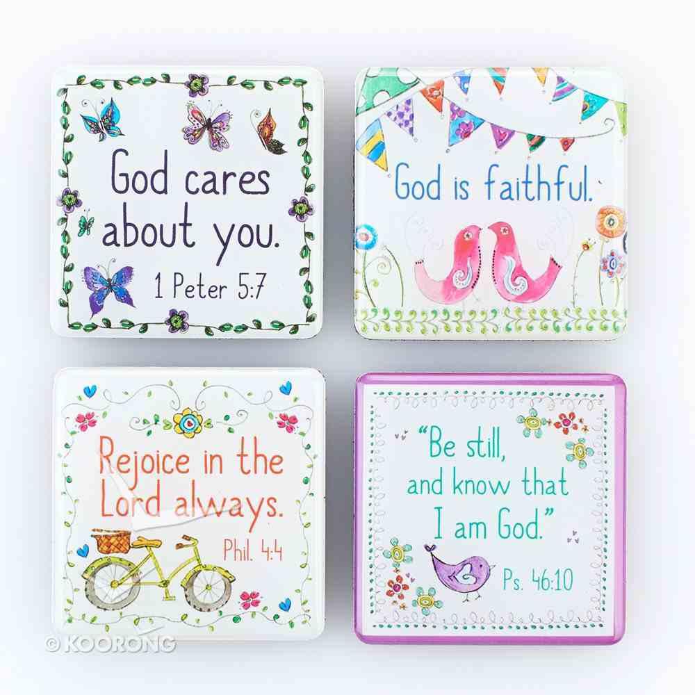 Magnetic Set of 4 Magnets: God Cares For You... Novelty