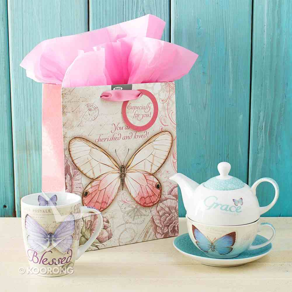 Gift Bag Medium: You Are Cherished and Loved Pink Butterfly Stationery