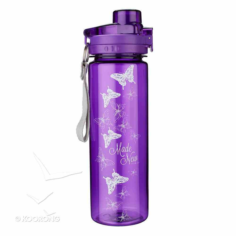 Plastic 750ml Water Bottle: Made New Butterflies (Purple) Homeware