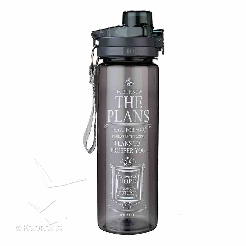Plastic 750ml Water Bottle: I Know the Plans I Have For You (Black) Homeware