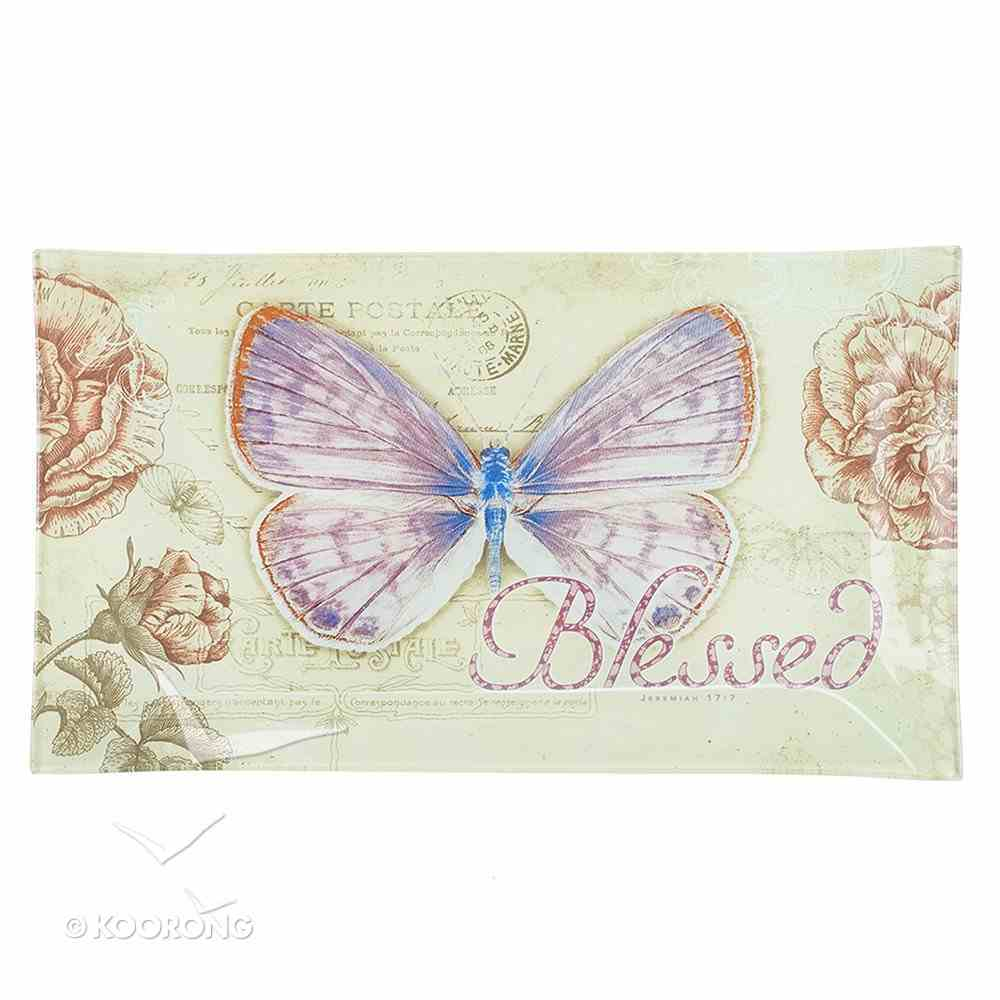 Glass Tray: Blessed Butterfly Purple (Jeremiah 17:7) Homeware