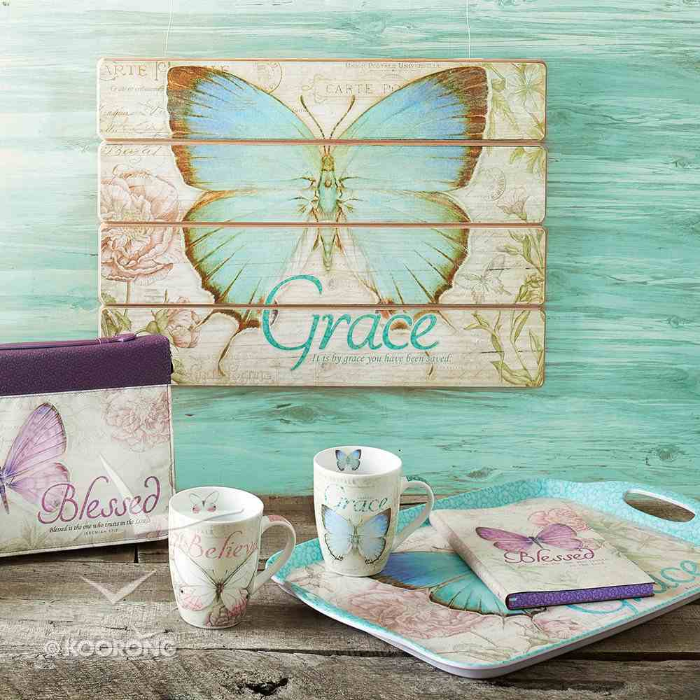 Wall Plaque: Grace Butterfly Blue/Green (Mdf) Plaque