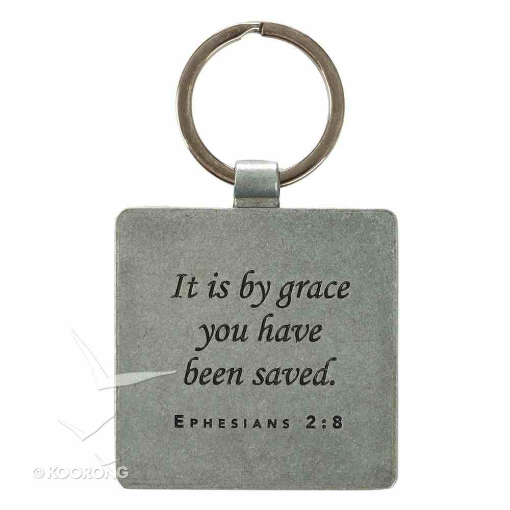 Metal Keyring: Grace Butterfly Blue/Green (Eph 2:8) Novelty