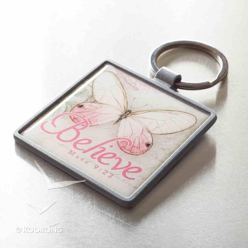 Metal Keyring: Believe Butterfly Pink (Mark 9:23) Novelty