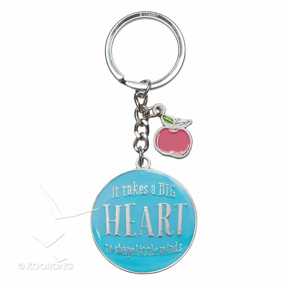 Metal Keyring in Tin: Blue, Apple, Let All That You Do Be Done in Love Novelty