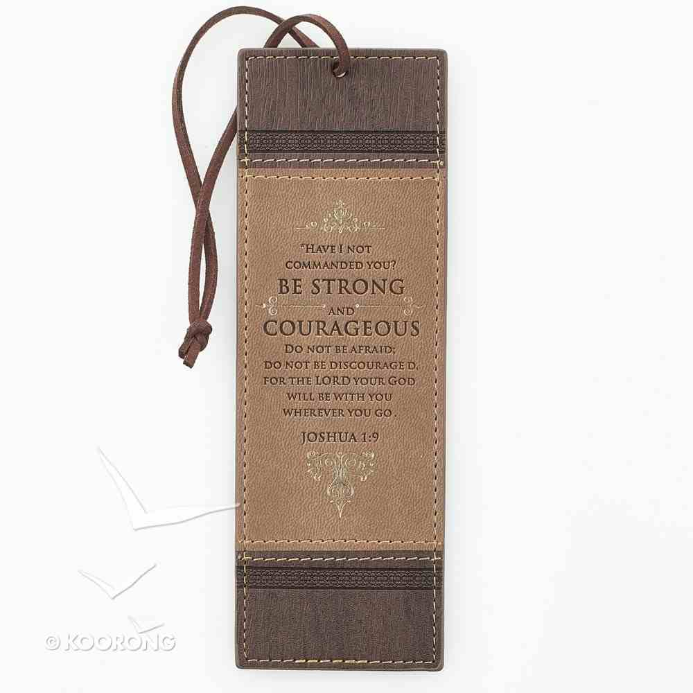 Bookmark Luxleather Tassel: Be Strong and Courageous Beige/Burgundy Stationery