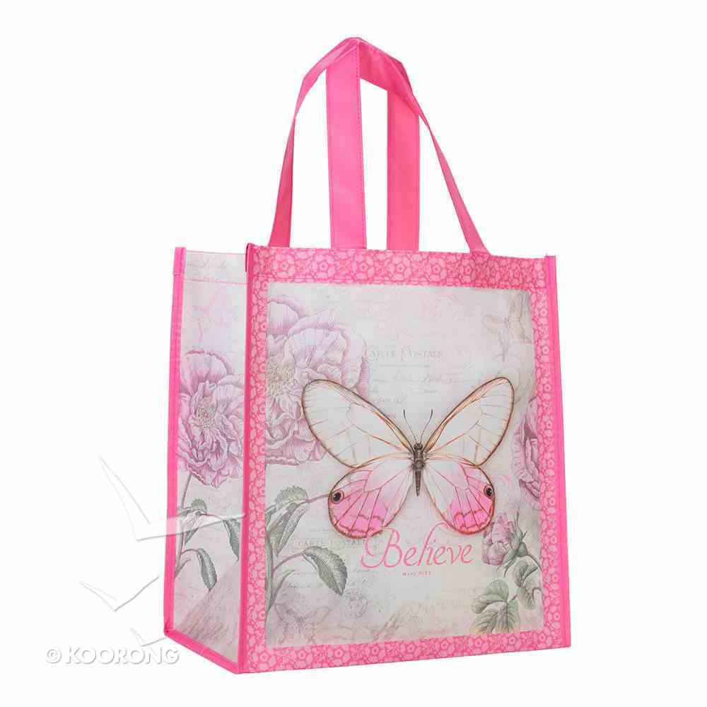Non-Woven Tote Bag: Believe Butterfly Pink Soft Goods