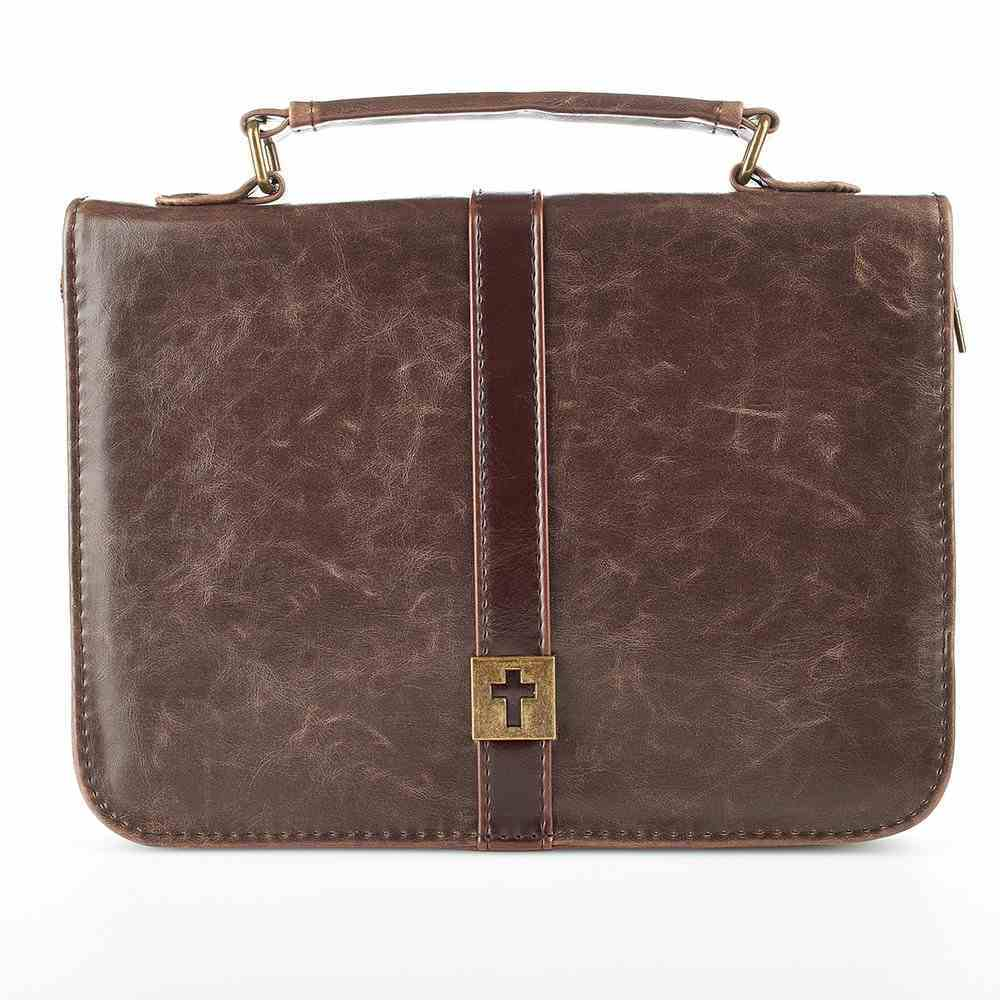Bible Cover Classic Large: Brown With Metal Cross Badge Bible Cover