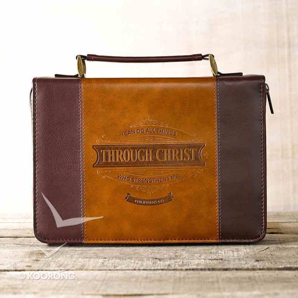 Bible Cover Classic Medium: I Can Do All Things.... Brown/Tan Bible Cover