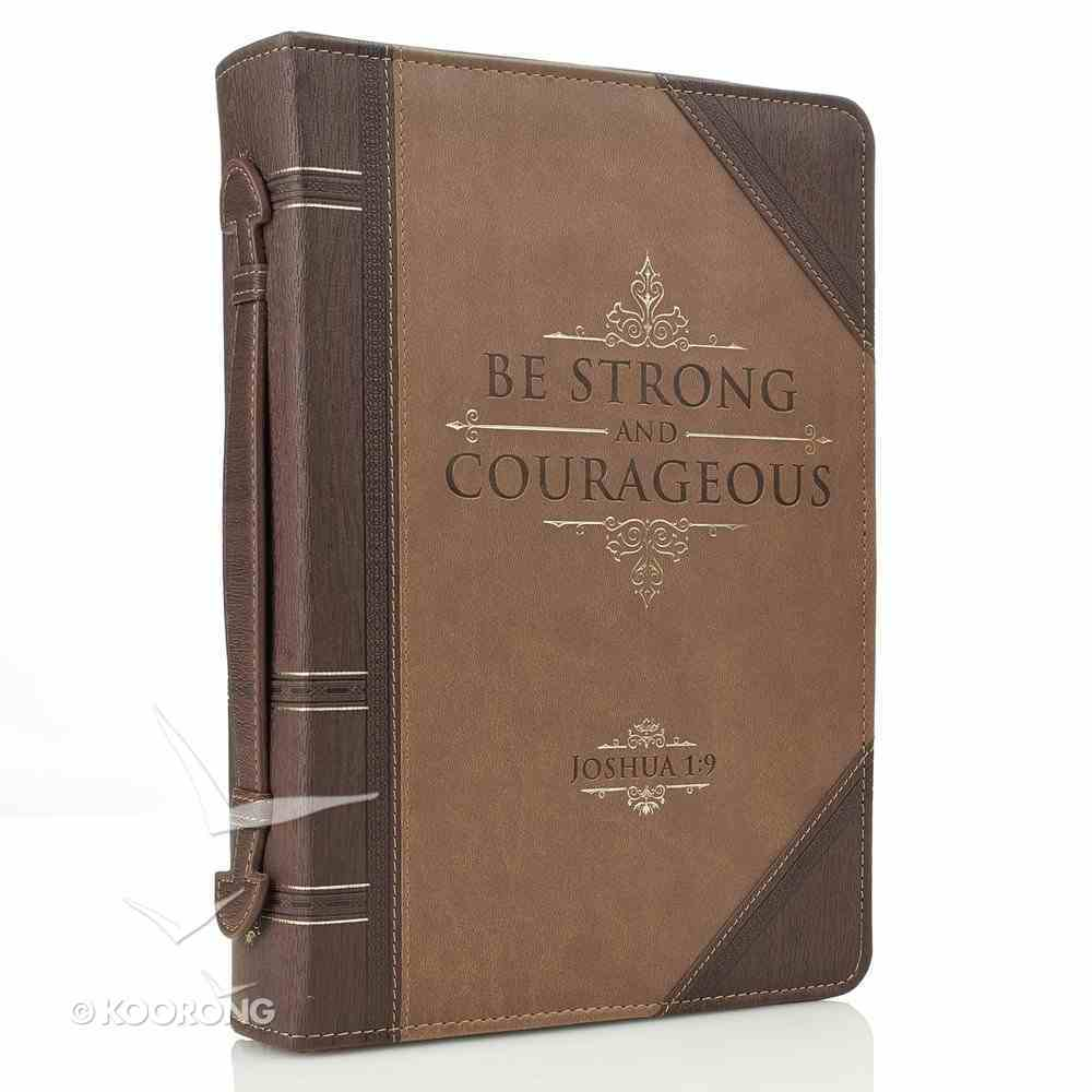 Bible Cover Classic Large: Strong & Courageous, Beige/Brown (Joshua 1:9) Bible Cover