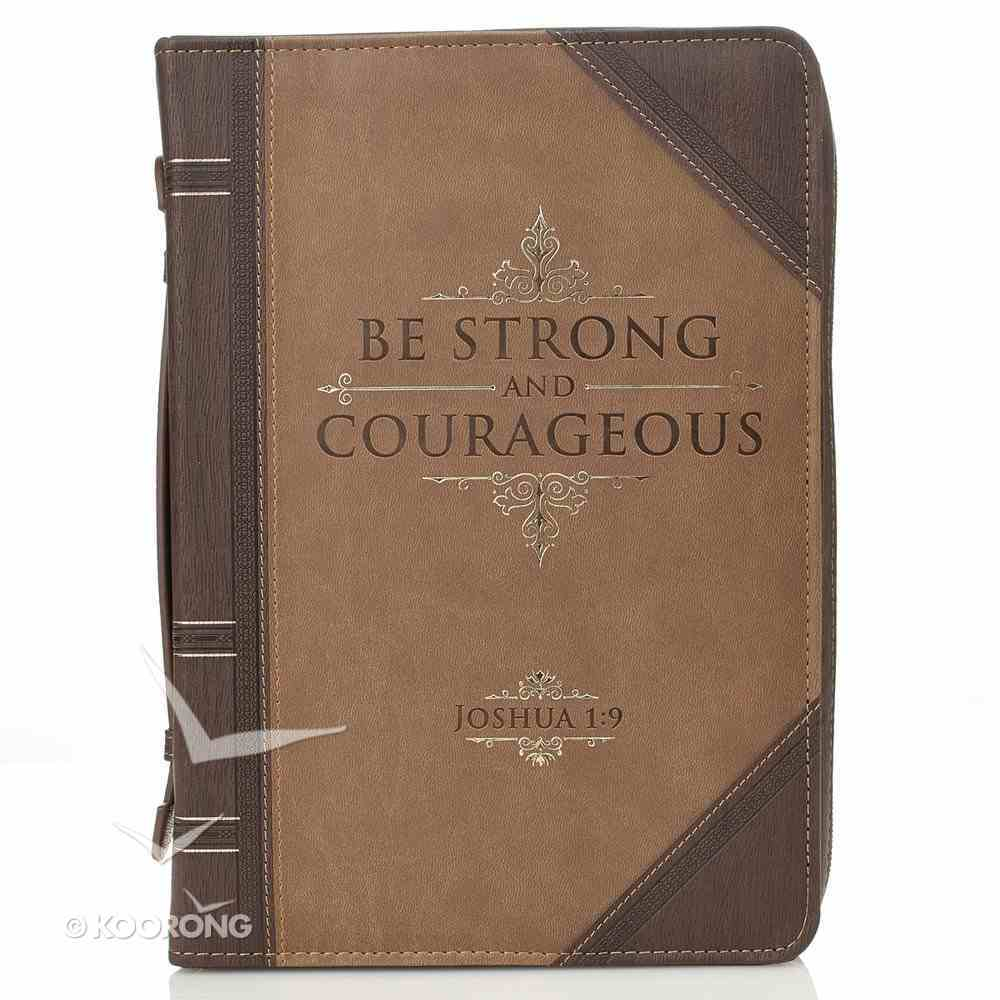Bible Cover Classic Medium: Strong and Courageous Joshua 1:9 Beige/Brown Bible Cover